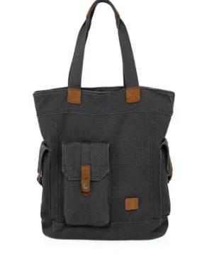 Black  TSD Brand Renegade Camo Canvas Tote Bag