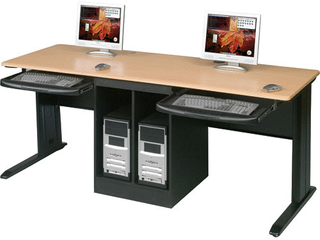 Balt lX 72 Inch Wide Workstation with locking Door CPU Cabinet Pull Out Keyboard Tray SOME DAMAGE  MAY BE INCOMPlETE