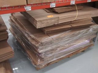 pallet of cardboard boxes  various sizes
