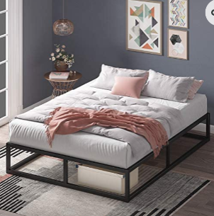 Zinus Joseph 10 Inch Metal Platforma Bed Frame   Mattress Foundation   Wood S