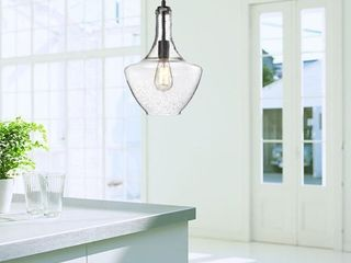 luna Antique black finish clear bubble glass pendant chandelier Black  Retail 103 49