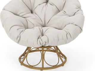 Maries Outdoor Papasan Swivel Chair with Cushion by Christopher Knight Home