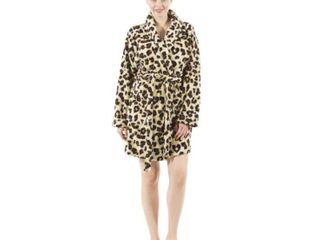 Authentic Hotel and Spa Women s leopard Print Plush Bath Robe