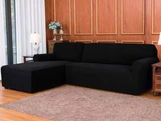 Subrtex 2 Piece l Shape Sofa Cover Stretch Sectional left Chaise Cover   Black