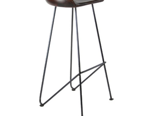 Modern 32 x 17 Inch Wood and Iron Bar Stool by Studio 350  Retail  158 99