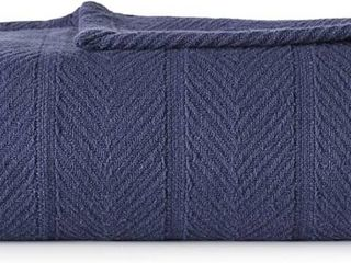 Eddie Bauer   Herringbone Collection   100  Cotton light Weight and Breathable Blanket  Cozy and Soft Throw  Machine Washable  Full Queen  Navy i1 4 i1 4 i1 4 i1 4 i1 4