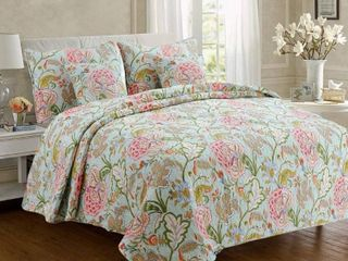 Cozy line Aregada Floral Cotton 3 piece Reversible Quilt Set   King
