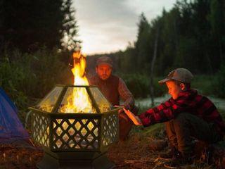 Black  22  Outdoor Hexagonal Shaped Iron Brazier Wood Burning Fire Pit  Retail 135 49