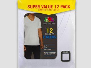 Fruit of the loom Men s 6 6 Super Value Pack V Neck T Shirt Undershirt   White S
