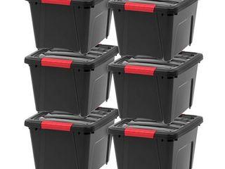 IRIS 19 Quart Stack   Pull Box  6 Pack  Black