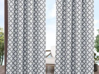 Exclusive Home Curtains Bamboo Trellis Indoor Outdoor light Filtering Grommet Top Curtain Panel Pair  54x96  Grey White  Set of 2