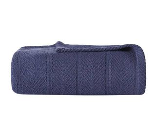 Herringbone Cotton Blanket  Full Queen  Navy   Eddie Bauer