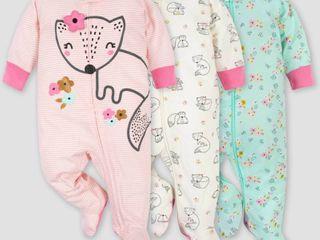 Gerber Baby Girls  3pk Fox Zip Front Sleep N  Play   Pink 0 3M