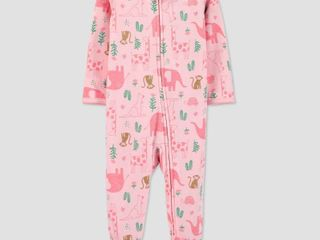 Baby Girls  Safari One Piece Pajamas   Just One You made by carter s Pink 3M