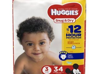 HUGGIES Snug   Dry Diapers  Size 3  34 Count