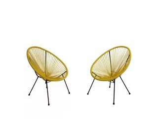 Anson Outdoor Steel Chairs w  Hammock Rattan Seating  Set of 2  by Christopher Knight Home