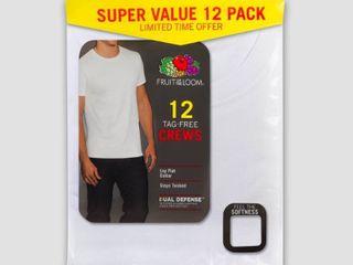 Fruit of the loom Men s 6 6 Super Value Pack Crew Neck T Shirt Undershirt   White S