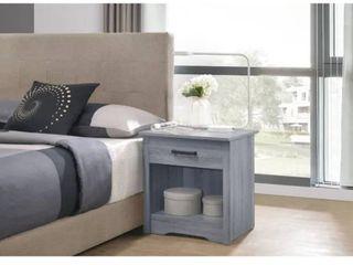 Hudson 1 drawer Nightstand   light Grey