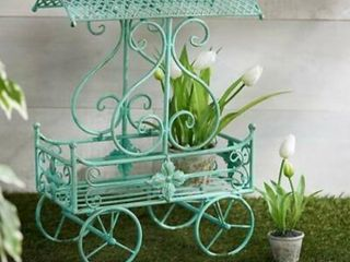 Indoor Outdoor Decorative Metal Flower Cart by Valerie   Ivory picture is for reference not color