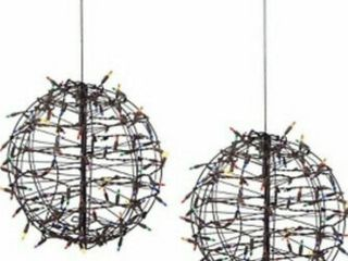 Set of 2 Pre lit Fold Flat Spheres with 100 lights by lori Greiner Blue