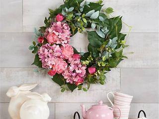 Hydrangea Peony   Tulip Cresent Floral Wreath by Valerie