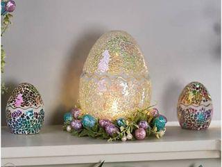 Illuminated 8  Mosaic Cracked Egg by Valerie