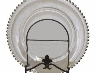 Set of 2   Splendid Silver Big Beaded Glass Charger Plate  Clear
