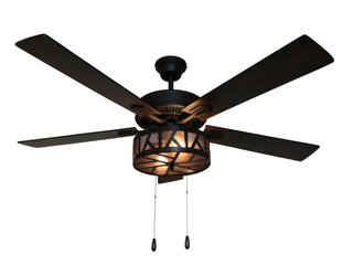 River of Goods 52  Havana Bronzed Caged lED Ceiling Fan with light
