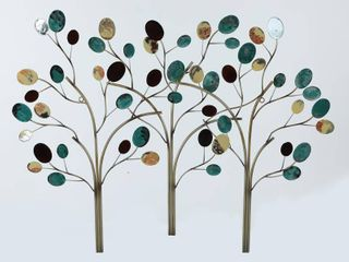 luxen Home Triple Connected Metal Trees Wall Decor