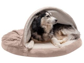 Furhaven Pet Dog Bed   Memory Foam Round Cuddle Nest Faux Sheepskin Snuggery Blanket Burrow Pet Bed with Removable Cover for Dogs and Cats  Cream  44 Inch