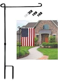 Garden Flag Stand  Premium Garden Flag Pole Holder Metal Powder Coated Weather Proof Paint with one Tiger Clip and two Spring Stoppers without flag