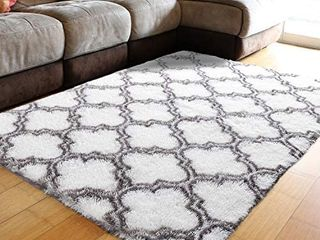 Ultra Soft Contemporary Shaggy Fuzzy Moroccan Geometric lattice Printed Fur Area Rug 4x6 Ft Indoor Shag Trellis Fluffy Carpets Rugs for Bedroom living Room Home Decor  White and Dark Grey