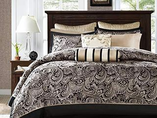 Madison Park Aubrey Cal King Size Bed Comforter Set Bed In A Bag   Black  Champagne   Paisley Jacquard a 12 Pieces Bedding Sets a Ultra Soft Microfiber Bedroom Comforters