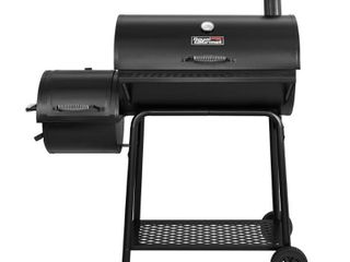 Charcoal Grill Offset Smoker Model CC1830F Black   Royal Gourmet