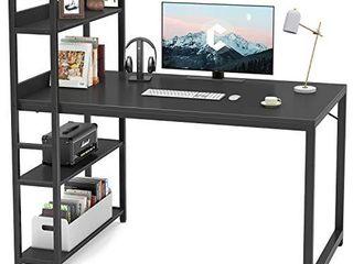 CubiCubi Computer Desk 47 inch with Storage Shelves  Rustic Brown