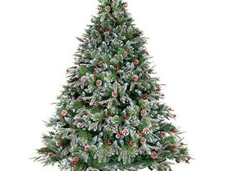 WBHome 5 Feet Snow Flocked Premium Spruce Hinged Artificial Christmas Tree  534 Branch Tips with Pine Cones  Unlit  5FT
