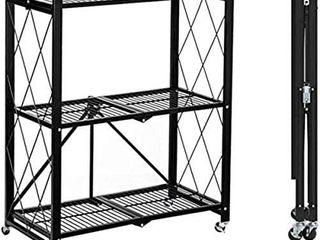 MSSOHKAN 3 Tier Foldable Storage Shelves with Wheels Metal Storage Shelving Units  Heavy Duty Collapsible Kitchen Shelves Bookshelf Small Rack with Wheels