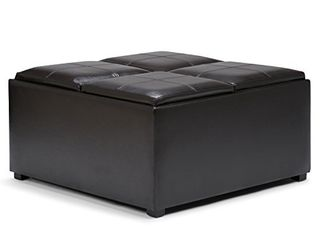 SIMPlIHOME Avalon 35 inch Wide Square Coffee Table lift Top Storage Ottoman  Cocktail Footrest Stool in Upholstered Tanners Brown Faux leather for the living Room  Contemporary