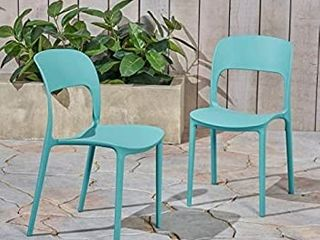Christopher Knight Home 306520 Dean Outdoor Plastic Chairs  Set of 2  Teal