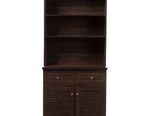 Baxton Studio Agni Modern and Contemporary Dark Brown Buffet and Hutch Kitchen Cabinet  Box 2 of 2
