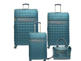 SA AND E INTERNATIONAl B Chelsea Quilt Collection 4 Piece Teal luggage Set  Blue