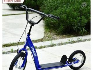 Aosom Youth Scooter Ride On Toy with Adjustable Handlebar  Dual Brakes  and Inflatable Wheels For Kids 5    Blue