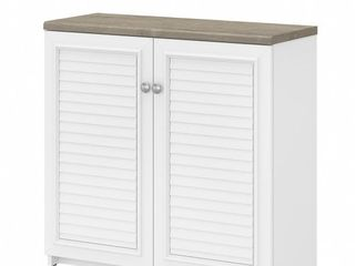 Bush Furniture Fairview Small Storage Cabinet With Doors And Shelves  Shiplap Gray Pure White  Standard Delivery