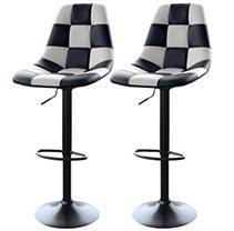 AmeriHome White Checkered Racing Bar Chairs   2 Piece