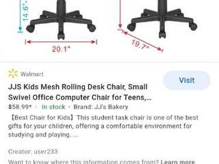 JJS Kids Mesh Rolling Desk Chair  Small Swivel Office Computer Chair for Teens  low Back Adjustable Upholstered Student Task Chair  Animal