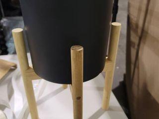 upshining mid century ceramic planter 8 inch with woodstand