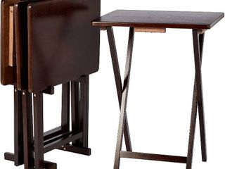 AmazonBasics Classic TV Dinner Snack Table Set   4 Tables with 1 Holding Rack   Espresso