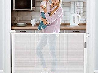 Retractable Baby Gate 54a Tough Durable Mesh Outdoor Retractable Gate Indoor Safety Mesh Baby Gates  Pet Dog Gate