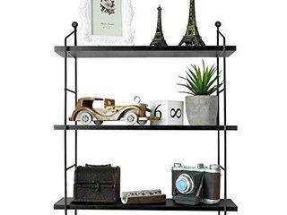 BATHWA 3 Tier Floating Shelves Metal Brackets Wall Mounted Shelves for living Room Bedroom Office Kitchen Decor Hanging Shelf  Black