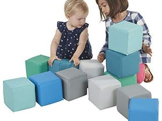 ECR4Kids SoftZone Patchwork Toddler Block Playset  Gentle Foam Blocks for Safe Active Play and Building  Built to last  Certified and Safe  12 Piece Set  Contemporary